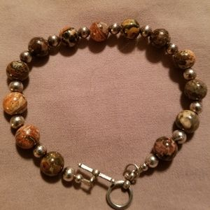 Jewelry - Sterling Silver & Stone Bead Toggle Bracelet